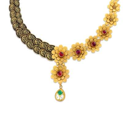 Gajal Mudhra Gold Necklace